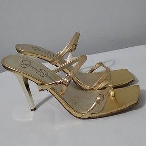 Jessica Simpson metallic strappy  heels stiletto